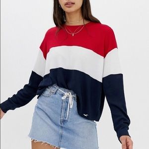 Tops - Red, White and Blue Crewneck Waffle Top!
